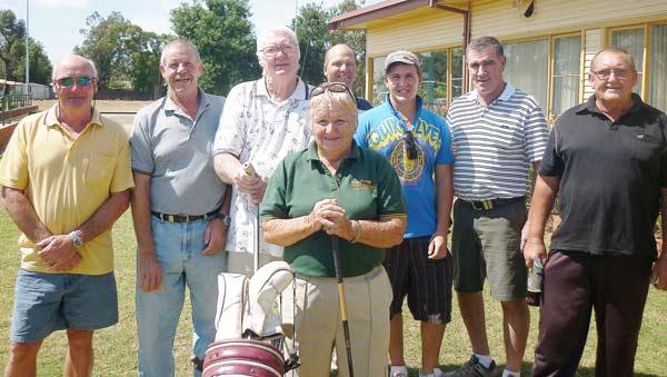 Golfers unite to fight cancer: Bob McPhail, Rob Hill, Max Ferguson, Judy Price, James Dargan, Sam Dargan, Greg Moncreiff and Dennis Norris.